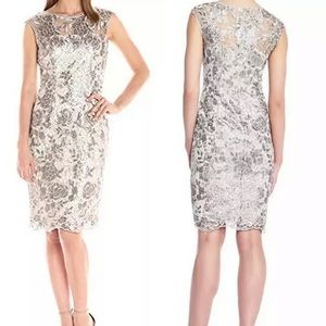 Adrianna Papell Floral Sequin Embroidered Sheath 8